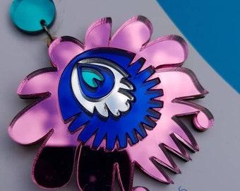 Chandelier earrings, drop earrings, stud earrings, dangle earrings, pink earrings, Xmas earrings, festive jewellery
