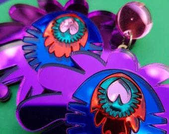 Green earrings, purple earrings, drop earrings, statement earrings, chandelier earrings, festival jewellery, festival headdress, frida khalo