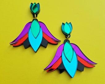 Dahlia Single Statement earring, perspex earring, floral earring, mirror perspex earrings