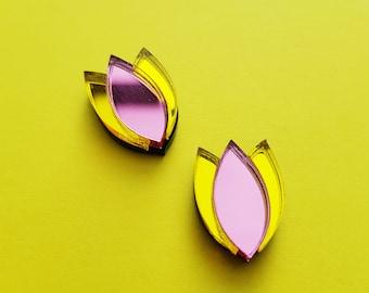 Dahlia Pink Stud Earrings, perspex earring, floral earring, mirror perspex earrings