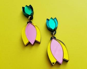 Dahlia Mini Double Drop Statement Earrings, perspex earring, floral earring, mirror perspex earrings