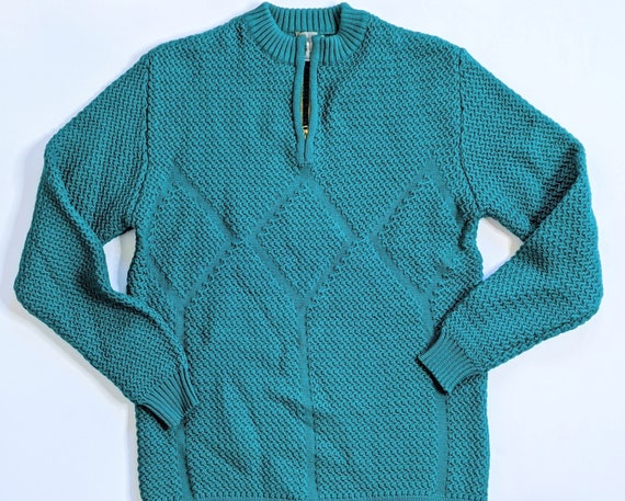 Vintage Quarter Zip Sweater Kelly Green Austrian M