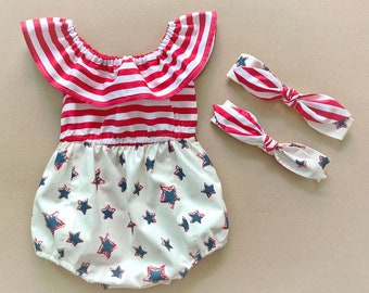 7d7d13c9aa2c Baby Romper Baby Girl Romper 4th of July Outfit 4th of July romper USA  romper Baby Girl Clothes 4th of July outfit Ruffle Romper girl outfit