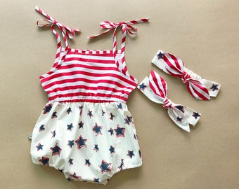 b9bf9a3d1741 Baby Girl Romper Fourth of July outfit Baby Romper 4th of July Outfit 4th  of July romper Baby Girl Clothes USA romper 4th of July outfit
