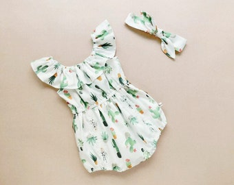 ec0aff67d baby girl outfits baby girl romper baby girl clothes baby romper cactus  baby girl clothes birthday outfit girls romper cactus party outfit