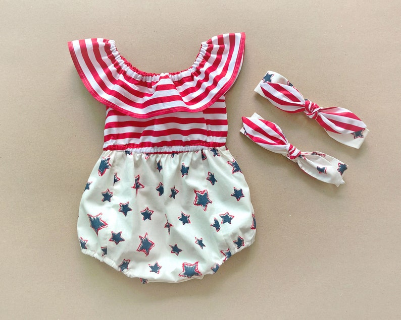 40b2a2e20ce Baby Romper Baby Girl Romper 4th of July Outfit 4th of July