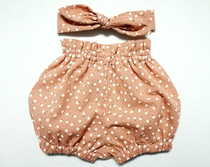 a064f6f660a8 Pink Floral Baby Bloomers Knot Headband Pink Floral Bubble   Etsy