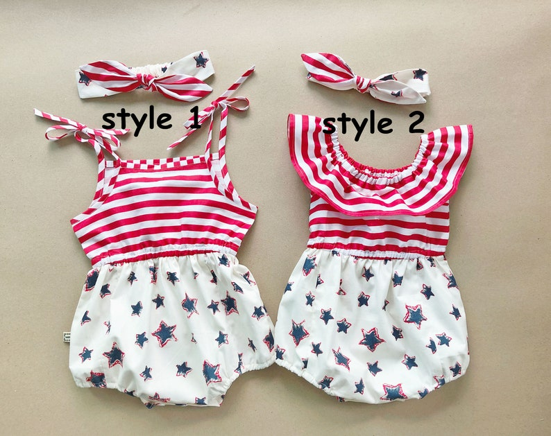 1746fb3c04b Baby Girl Romper 4th of July Outfit 4th of July romper Baby