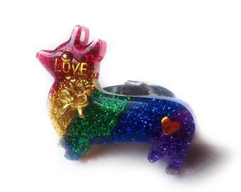 Rainbow Corgi Statement Ring, Corgi Resin Ring, LGBT Ring, Glitter Resin Ring, Gay Pride Ring, Kawaii Resin Ring, Rainbow Resin Ring