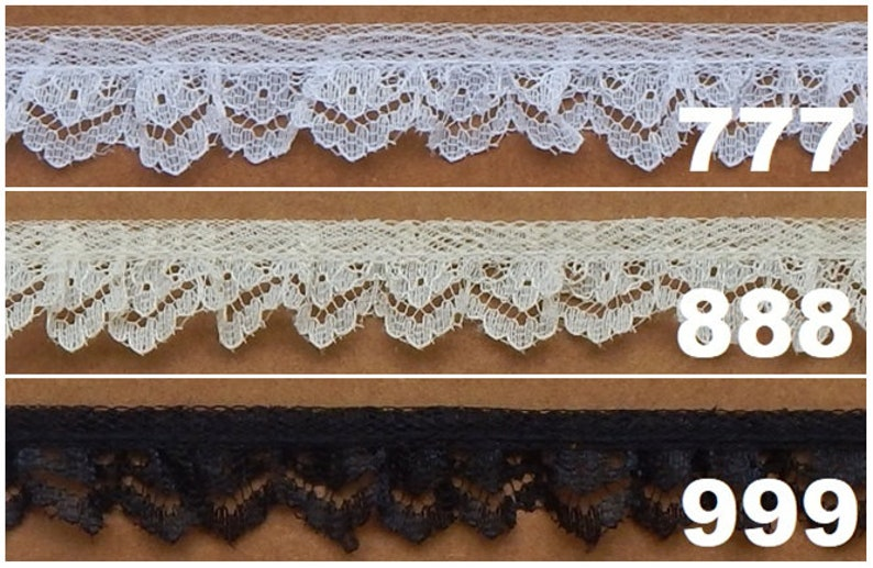 "5 AVAILABLE IN 1 FREE SHIPPING USA 1//2/"" RUFFLED LACE 3 10 /& 75 YARD PIECES"