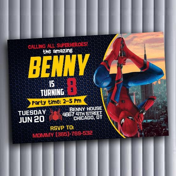 Spiderman Spiderman Invitation Spiderman Birthday Spiderman Etsy