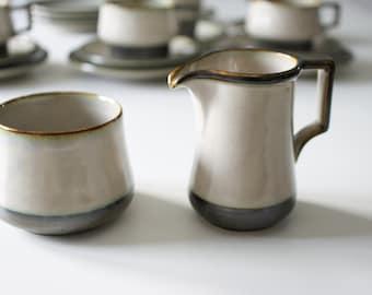 Stoneware sugar bowl and creamer 'Tema' from Bing and Grøndahl