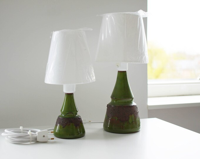 A pair of retro green ceramic lamps by Bartholdy, Denmark (602/ 603)