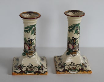 Pair of vintage candle sticks, England Leeds - reproduced by Masons 1932