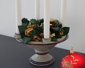 Michael Andersen & Son ceramic Christmas candleholder and dish