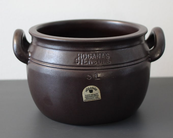 Black/Brown ear bowl from 1970's. (3 l. / 13 cm.) Höganäs