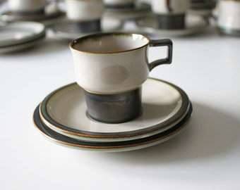Stoneware coffee cup, saucer and tea plate 'Tema' from Bing and Grøndahl
