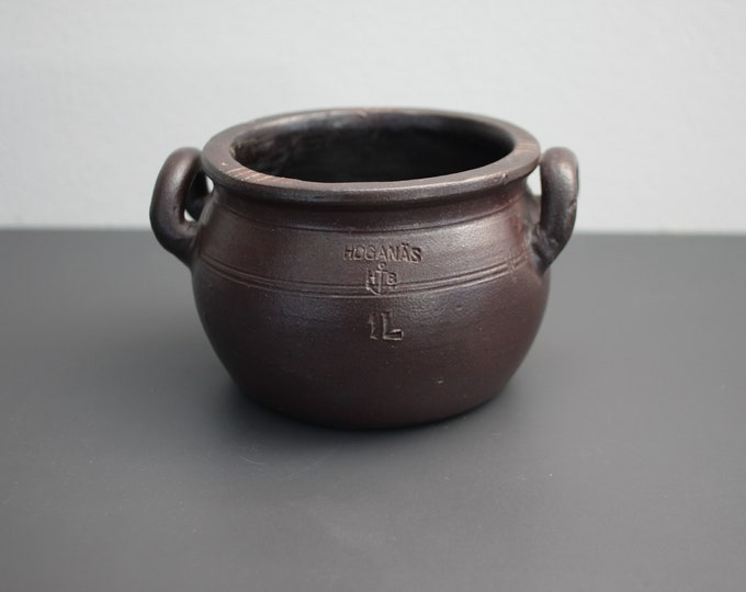 Black/Brown salt glazed pot (1 l. / Ø 16 cm.) Höganäsbolaget