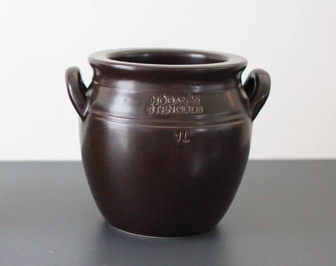 Black/Brown ear bowl from 1970's. (1 l. / 13,5 cm.) Höganäs