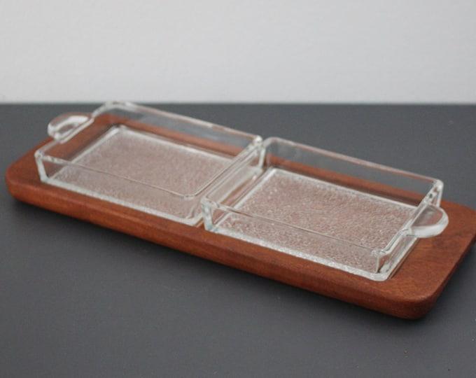 Vintage teak cabaret tray with 2 glass inserts (Siam Teak ESA Denmark)
