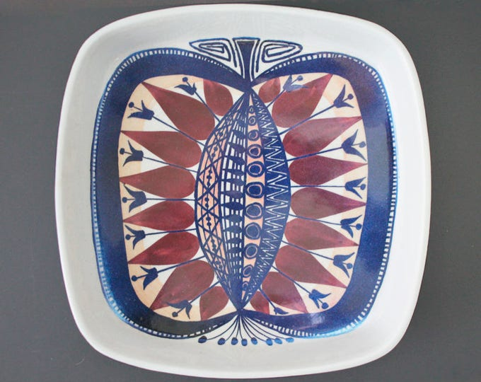 Aluminia dish 142-2883 with butterfly from 1960's. (9,06 inches / 23 cm.) Beth Breyen (Tenera).