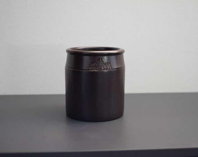 Höganäs black/brown bowl from 1970's. (1 l. / 12.5 cm.)