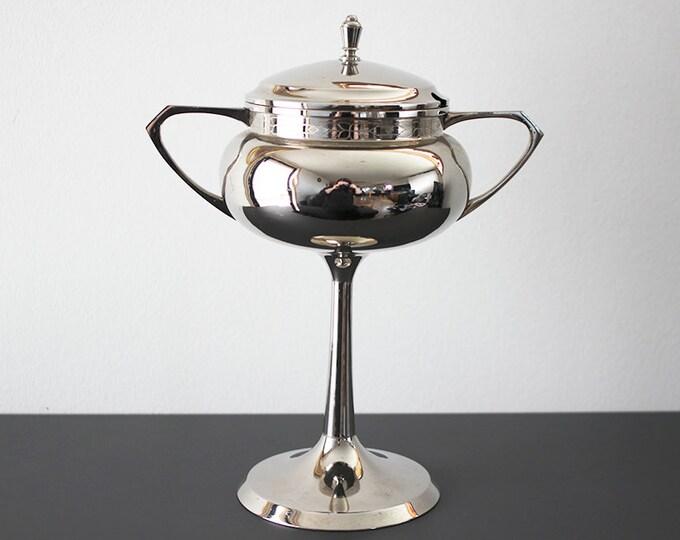 Vintage silver plated trophy / lid bowl on pedestal