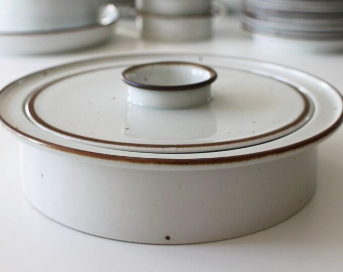 """Stoneware lid bowl """"Brown Mist"""" by Niels Refsgaard, Dansk Designs"""