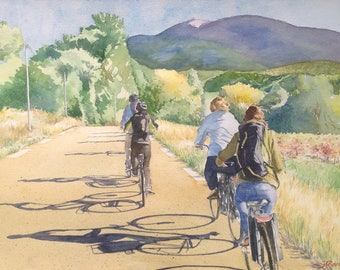 Cycling to the Mont Ventoux riding a bike on Mont Ventoux fietsers original watercolor painting original watercolor painting Provence holidayvacances