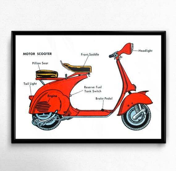 scooter diagram 1950 s motor scooter diagram encyclopedia illustration etsy  motor scooter diagram encyclopedia