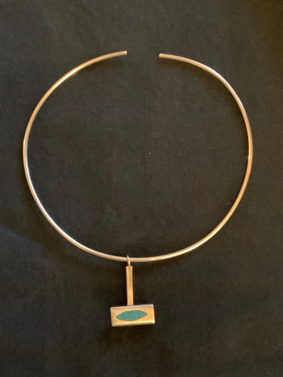 Flexible Mexico Turquoise Collar Necklace, Vintage