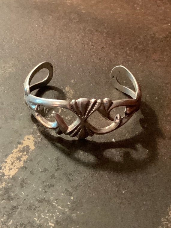 SandCast Cuff Bracelet, Vintage Sterling Silver Sc