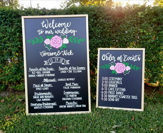 Hand painted wedding chalkboards - welcome to our wedding (including  names)- order of events- hand painted and designed - fully customizable