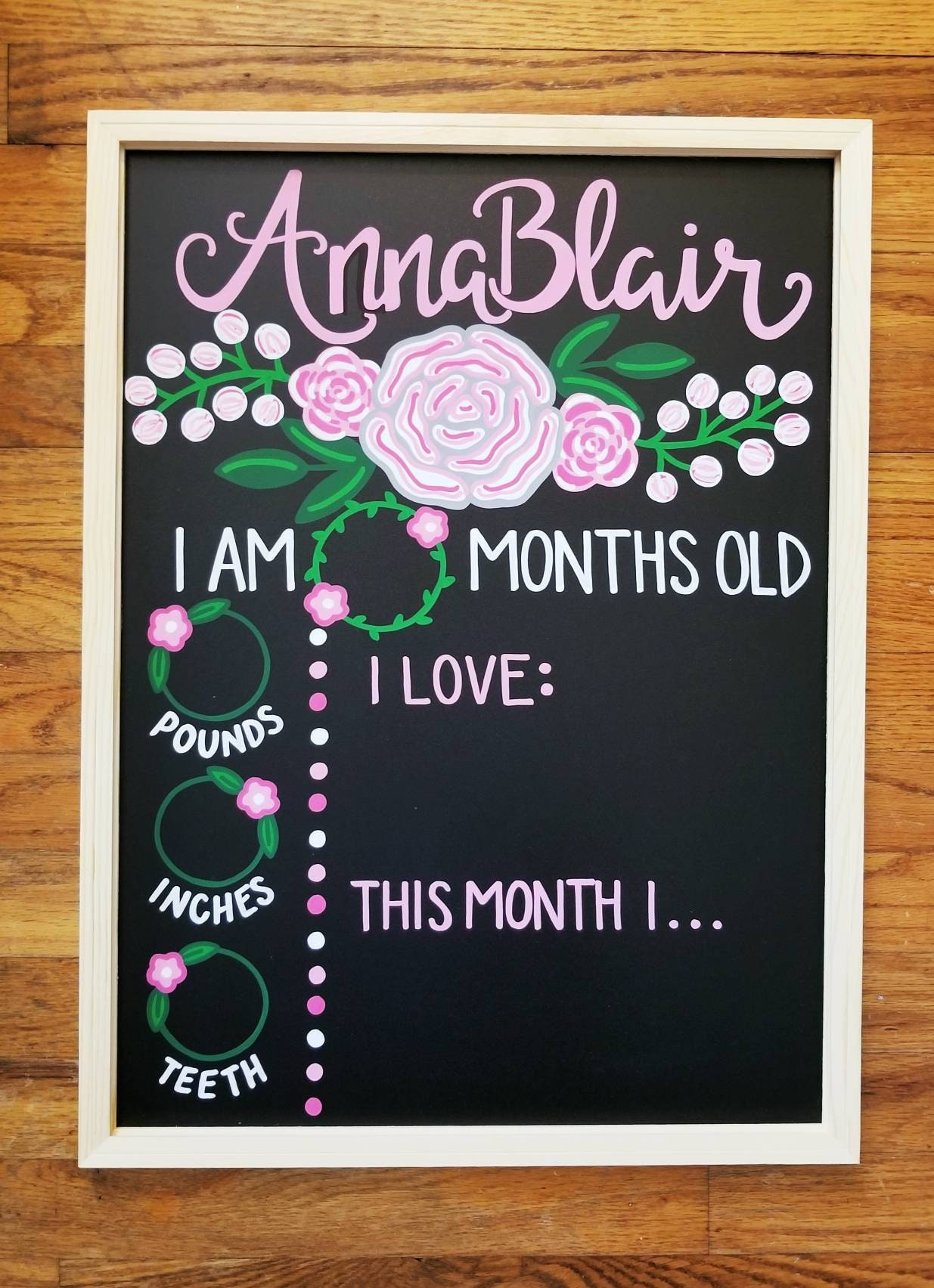 Baby Monthly Milestones Hand Painted Chalkboard Etsy