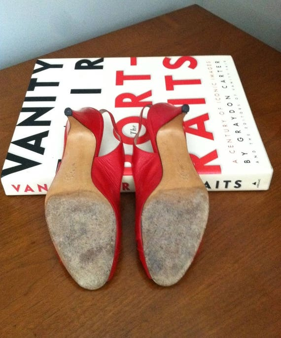 Magli 5 in pompes Open en 8 B Red Made Italie Slingback cuir Toe Bruno d7aRdq