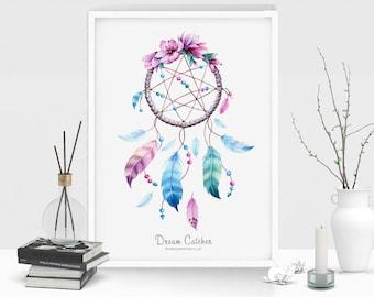 Dream Catcher Digital Art, Dream Catcher Poster, Instant Download