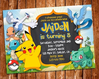 Pokemon Invitation Party Birthday Custom Card