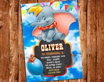 Dumbo Invitation, Dumbo Printable Birthday Invitation, Dumbo, Dumbo Party, Dumbo Birthday, Dumbo Disney, Baby Shower, Digital File