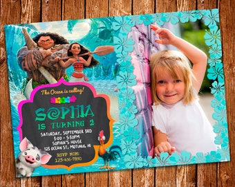 Moana Photo Invitation Birthday Card Printables Invite