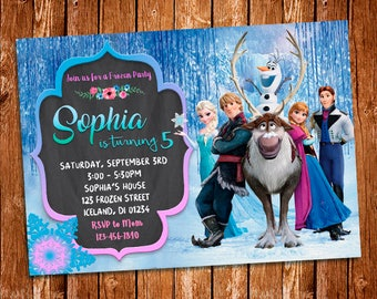 Frozen Invitation Birthday Party Princess Elsa Digital Disney