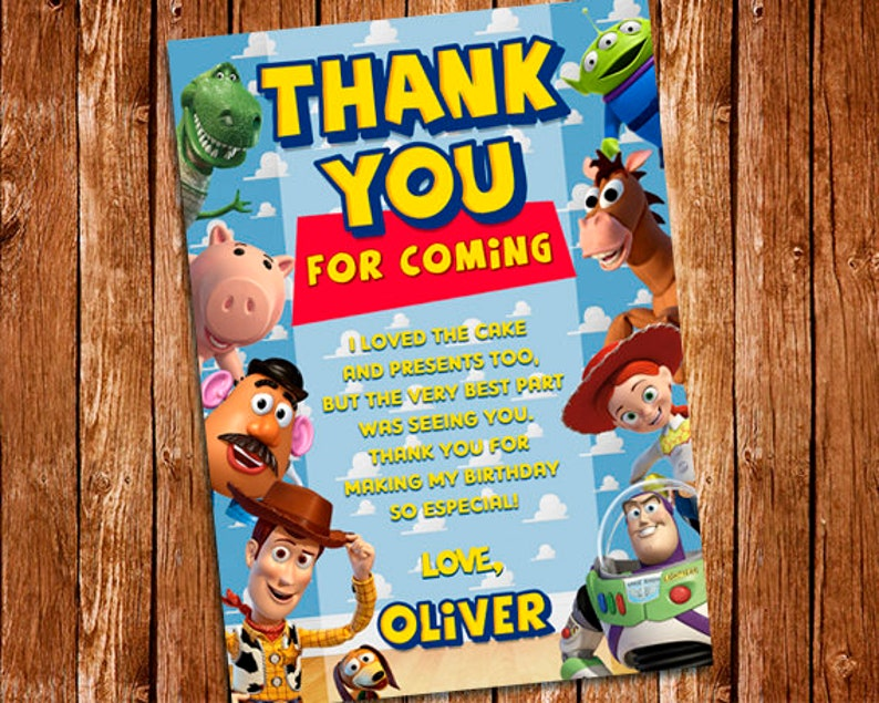Carte De Remerciement Toy Story Toy Story Anniversaire à Imprimer Invitation Buzz Léclair Woody Carte De Remerciement Toy Story