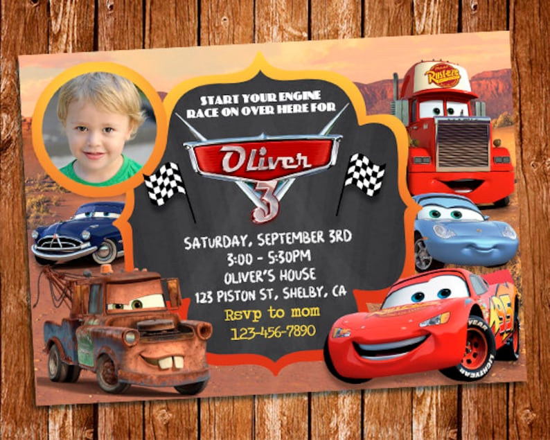 Cars 3 Photo Invitation Birthday McQueen