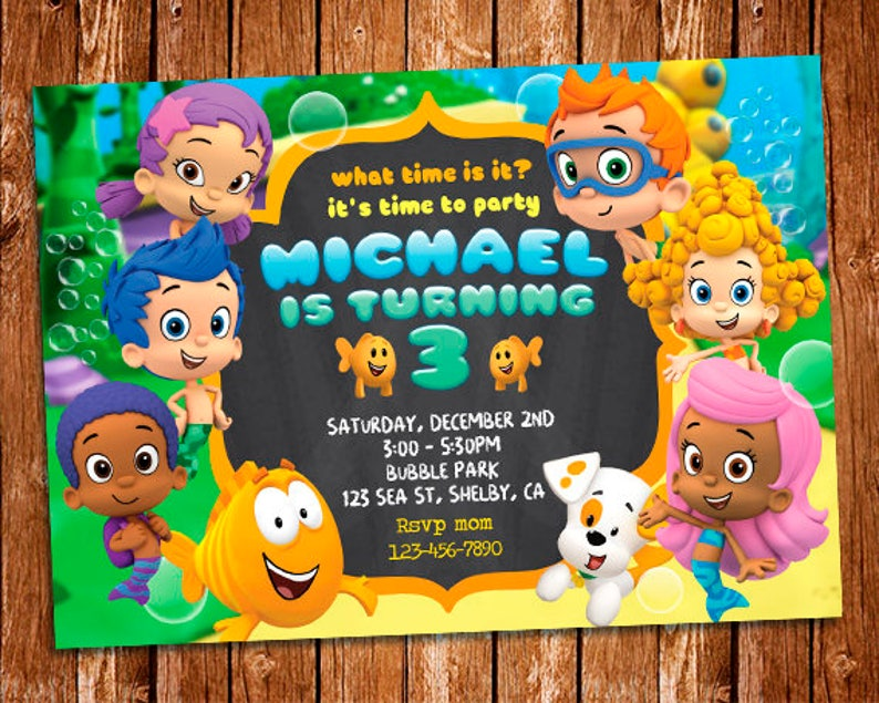 Bubble Guppies Invitation Chalkboard Birthday Invite Digital Printables