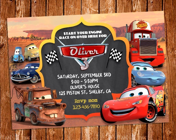Disney Cars Invitation Disney Cars Birthday Party Invite Etsy