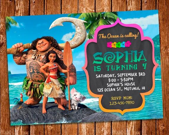 Invitación De Moana Moana Cumpleaños Invitación De Maui Invitación Del Cumpleaños De Moana Partido De Moana Moana Invitar Invitación Para