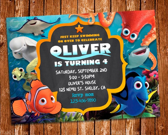 Finding Dory Invitation Finding Dory Invite Finding Nemo Etsy