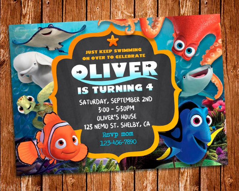 Finding Dory Invitation Invite Nemo Birthday PartyFinding