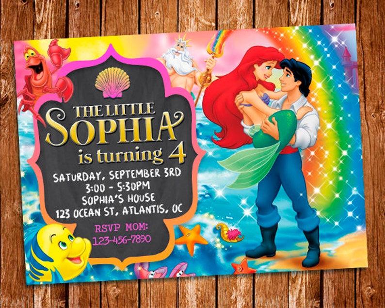 The Little Mermaid Invitation Birthday Ariel