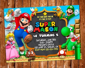 Super Mario Invitation, Super Mario Printable Invitation, Mario Digital File, Super Mario Birthday Party Invitation, Luigi, Yoshi, Mario