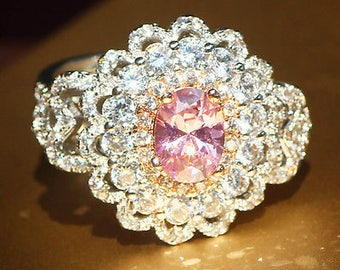 SALE Pink & White Sapphire Ring, Engagement Ring, Silver and Platinum, Free Shipping.